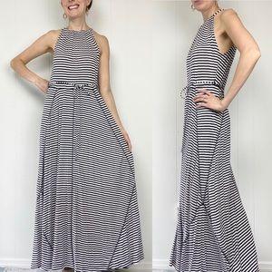 GAP Black & White Stripe Grecian Halter Maxi Dress